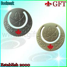 best Canada falg round metal gold bookmark