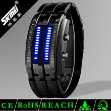 lava style iron samurai red light metal led watch