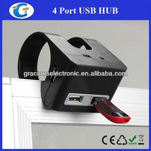 Novelty item 4 ports usb hub with desk clip