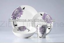 16PCS Fine Porcelain Dinner Set With Purple Flower Design
