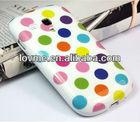 Colorful big Point TPU GEL Soft Skin Case Cover For Samsung Galaxy S3 III Mini i8190 White