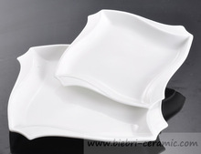 """8"""" Pure White Logo Decal Artwork Design Decorative Square Porcelain Plates Dishes For Hotel And Restaurant"""