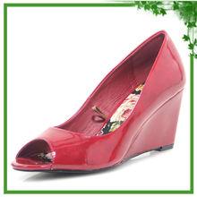 Peep Toe Elegant Red Shoes High Wedge Heels