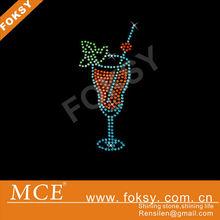 glass with wine design hot fix rhinestone motif - FOKSY