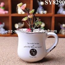 Zakka style cup with ear shape antique ceramic flower pot