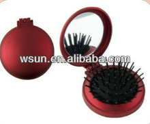 round plastic compact mirror with comb