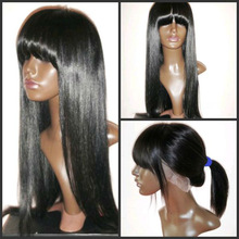 100% human hair hand made full lace wig with bangs wholesale price