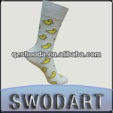 High quality animal design custom dress socks white cotton socks