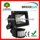 10W black led pir floodlight CE RoHS approval