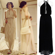 Womens Halter Open Back Empire Waist Boho Summer Party Beach Maxi Long Dress