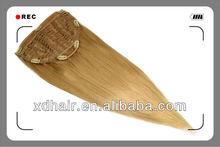 Flip-in 100% Genuine Human Hair Extension/Cover Fish Line Human Hair Weaving
