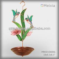 MX010006 garden decor metal bird feeder with hummingbird butterfly stained glass craft decoration