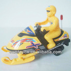 Yellow friction snowmobile toys