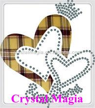 heart design fabric and rhinestone transfer motif