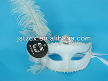 Sexy masquerade carnival masks with feather,white feather party mask,Masquerade mask manufacturers