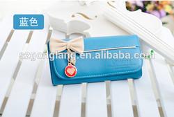2013 New Fashion Lady Girl Women Long Purse Bow Style Wallet PU Bag Handbag Gift