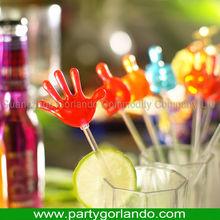 hand shape plastic party fancy swizzle sticks