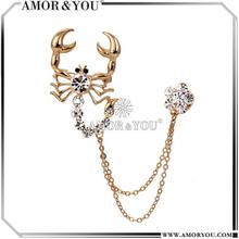 Golden Color Brooches Animal Brooches Rhinestone Element Ornament On Dress JBXA1603FG-CR