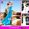 EP15 Exotic Beaded Blue Chiffon Open Side One Long Sleeve Prom Dress