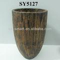 2013 nova série( formato de cone)imitando madeira acabamento, vaso de flores para decoração de jardim