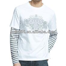 Mens style 100% cotton round collar t shirt