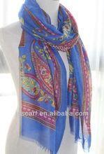 designer one piece party dress JDYVP-001# Printing scarf 100% voile polyester shawl wholesaler
