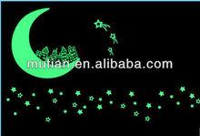 star moon shape glow in dark sticker
