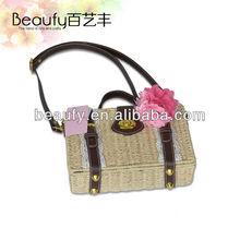 Fashion Rattan Straw Bag w/ Shoulder Strap