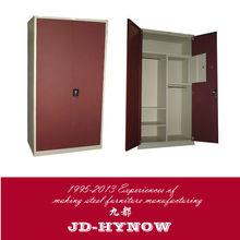 Two door wooden color steel furniture, metal bedroom cupboards design