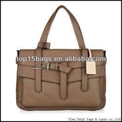 Vintage dark Kahki belt docoration women hand bag