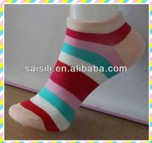 2013 Fashion stripe ladies/ women cotton low cut ankle socks