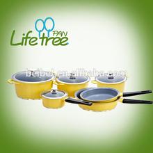 New design aluminum non-stick cookware set with shiny bottom design