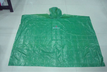 PE travel one time used green rain poncho/ rainponcho/raincoat/poncho