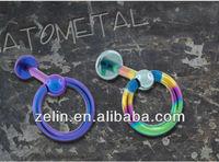 Titanium flatback labret with slave ball lip ring body piercing jewelry