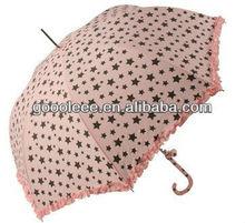 pretty pink color wedding umbrella with lace