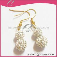 factory earrings 8mm 10mm gold earring for women crystal hook earrings