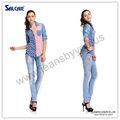 baratos da china por atacado da roupa de bandeira americana fotos de camisas jeans para mulheres elegantes casual wear tecido denim shirts