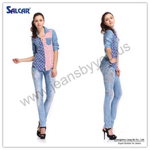 Cheap China Wholesale Clothing American Flag Pictures of Jeans Shirts for Women Elegant Casual Wear Denim Fabric Shirts