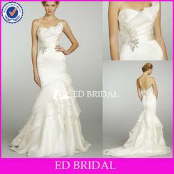 Latest Alibaba Bridal Gown Asymmetrical Neckline Ruffle Layer Mermaid Made In China Suzhou Wedding Dress