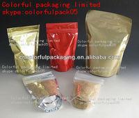 ziplock aluminum foil stand up plastic food bag/plain gold food grade packaging doy bag/transparent reclose cooking food doy bag