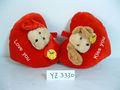 35cm lindo colorido suave de la felpa de encargo del corazón- en forma de cojín y una almohada juguete del perro con cabeza de animal para el día de san valentín