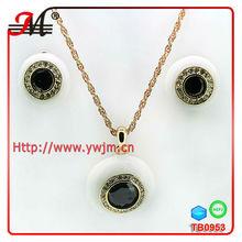 TB0953 wholesale stone white enamel eyes jewellery sets earrings and necklace sets nakit setovi
