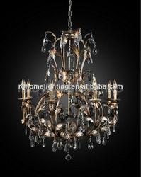 8 bulbs fake antique silver foil chandelier lighting led