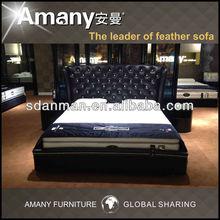High headboard modern leather bed T1133