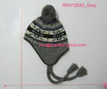 (RSH12042_# Grey) Acrylic Winte Earflap Hat with Snowflake Pattern