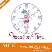 vacation time wine glass for rhinestone iron on transfer motif - FOKSY