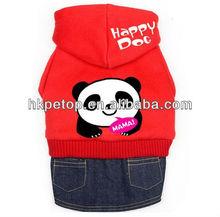 Clo2017 Panda Mama Fleece Hooded Jean Pet Dog Skirt