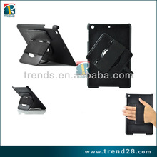 Rope 360 degree rotation Puller Standing PU leather case for Ipad mini