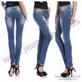 Femmes blanchi bleu avec moulin blanc coton et Spandex Denim Jeans