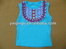 Simple Design Super Cute Little Girls Summer Baby 100% cotton tank top with bib Lovely baby bib shirts